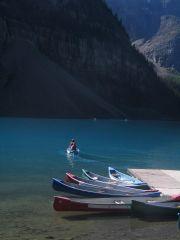 Kayaks on Lake Louise, Banff, Canada