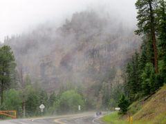 Wolf Creek Pass in fog and rain