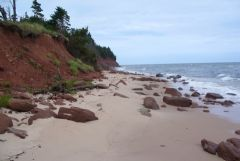 Rocky north end of beach at Red Point