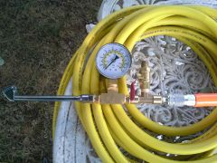 Tire gauge And relief valve with 50 foot hose