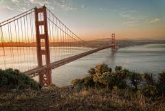 Morning sun at Golden Gate Bridge