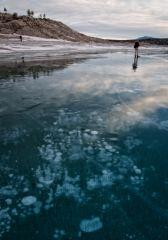 Frozen ice bubble on Abraham Lake