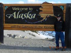 Welcome to Alaska sign at Yukon Border.