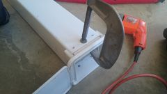 Jig with C-Clamp, for secure attachment of pop rivets
