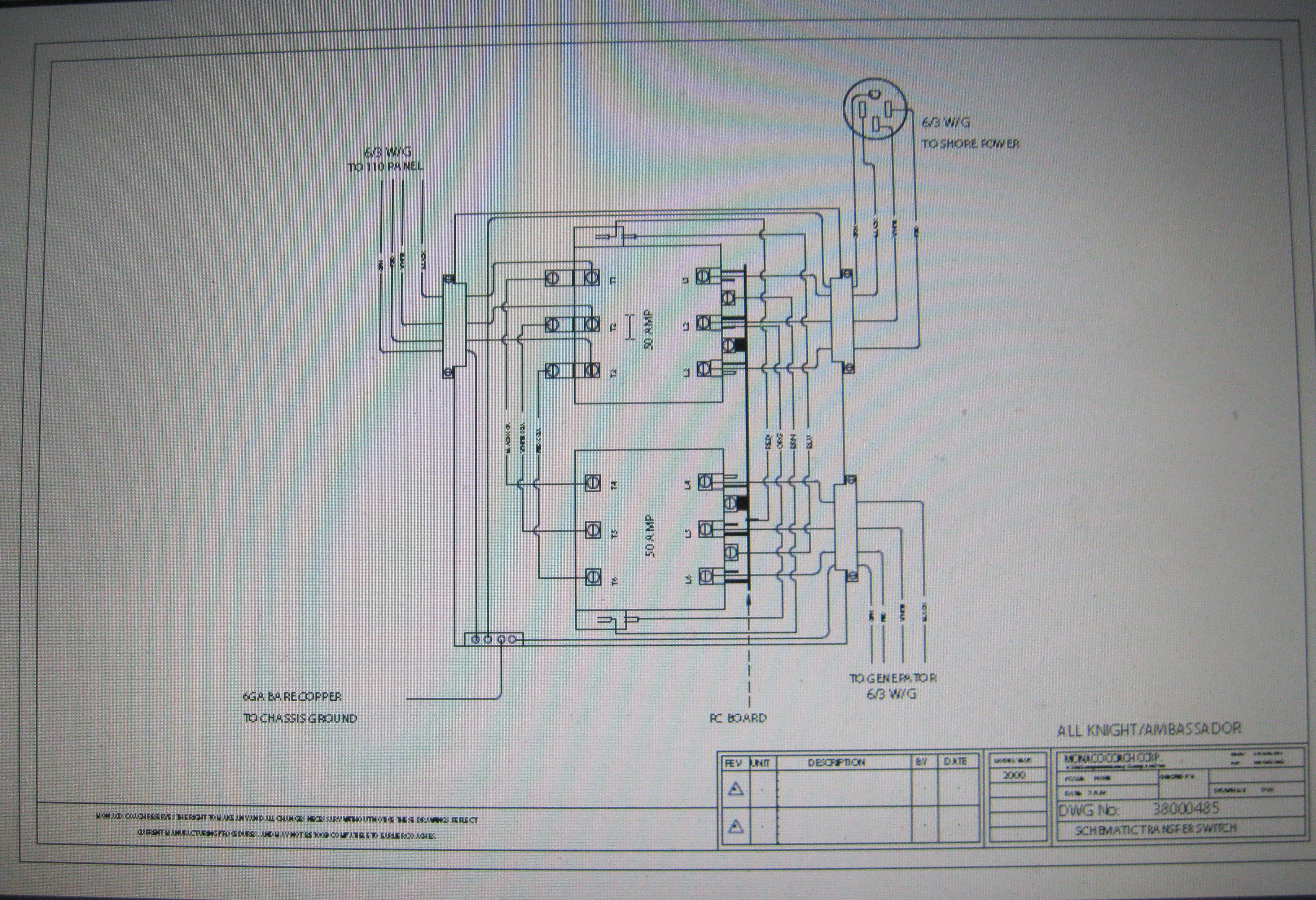 2005 42 Ft Monaco Dynasty Shore Power Cuts In And Out Electrical Rv Wiring Diagram Besides 50 Plug On Amp Typical Ats Setup For S P Gen Panel 120 Feed